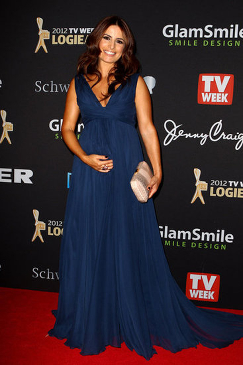 Gorgeous Ada Nicodemou Navy Blue Maternity Evening Dresses V Neck A ...