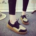 2016 осенние плоские мокасины новые ботинки женщин зашнуровать Мокасины смешанный цвет Сращивания платформа причинные обувь мода девушки школьной обуви