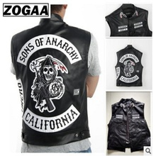 Free shipping Sons Of Anarchy Embroidery Leather Rock Punk Vest Cosplay costume Black Color Motorcycle sleeveless Jacket