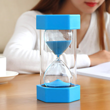 15/20/30/60 minutes plastic hourglass, child safety shatter-resistant double-layer timing hourglass 60 minutes wooden base timing hourglass creative glass crafts home decoration