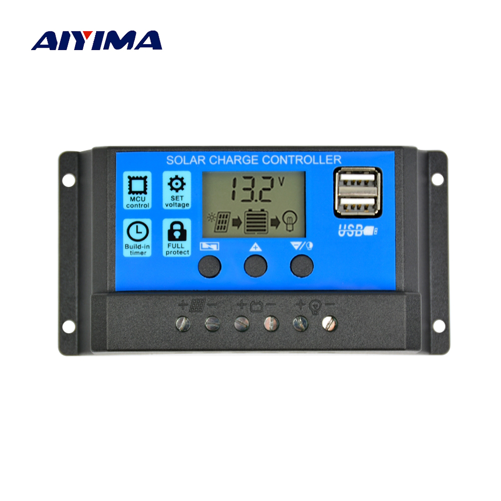 Aiyima Solar Charge Controller 12V 24V 30A 20A 10A Automatic Solar Panel Controller Universal USB 5V Charging LCD Display