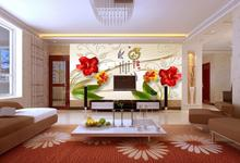 Customized mural large 3D Traditional Chinese painting with fashion flower behind TV sofa as background wallpaper in living room
