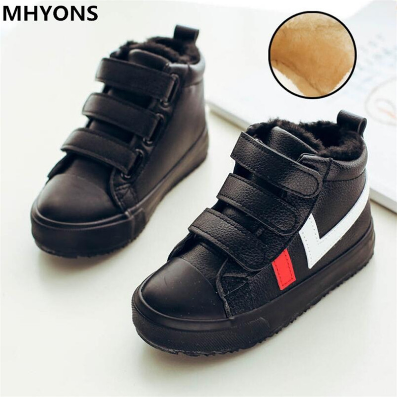 2019 Winter Kids Boots Brand Boys Girls Warm Leather Sneakers Fashion Footwear Children Casual Shoes Plush Non Slip Sport Shoes