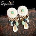 Специальные Новая Мода Мотаться Серьги позолоченные Уха Клипы Природный Камень Sea Shell Шарм Ювелирные Изделия Подарки для Женщин EJ160330