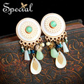 Special New Fashion Dangle Earrings Gold-plated Ear Clips Natural Stone Sea Shell Charm Jewelry Gifts for Women EJ160330