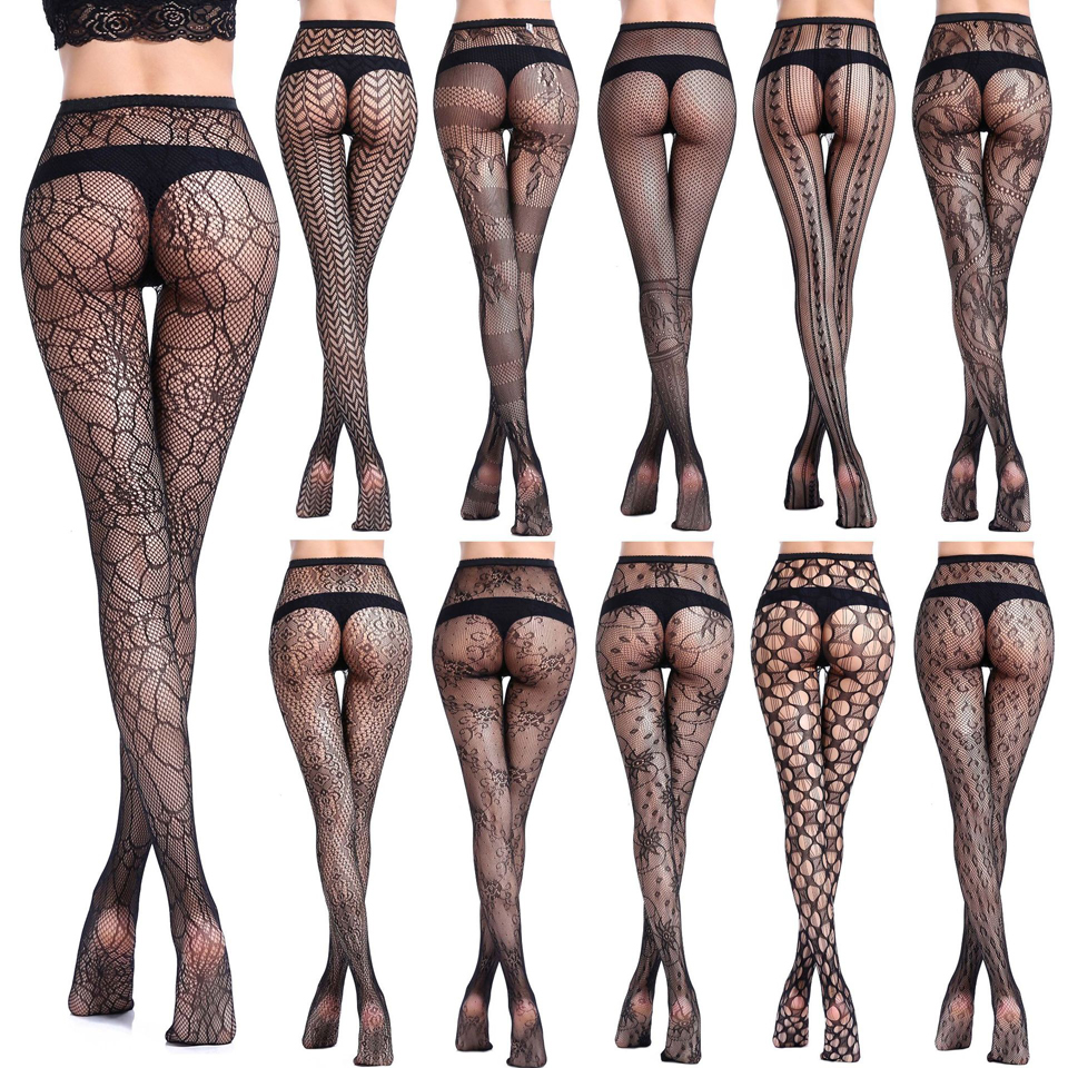 f4af7c95c21 New Women Sexy Lingerie Stripe Elastic Stockings Transparent Black Fishnet  Stocking Thigh Sheer Tights Embroidery Pantyhose