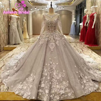2017 New Design Luxury Vintage Real Photos Beaded Appliques Gray Long Sleeves Wedding Dresses Long Train