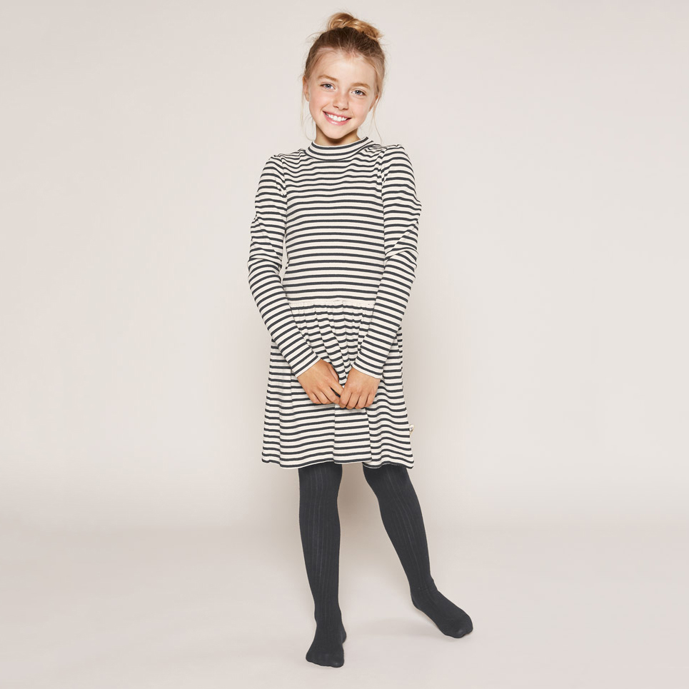 European Little Big Girls Sweater Long Sleeve Tunic Striped Knit Dress for Kids 2017 Fall Autumn Clothing In Girls studio m new women medium m gray purple striped sharkbite tunic sweater $78 065