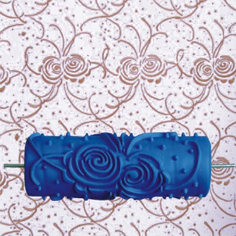 Decoración del hogar: rodillo de pintura de pared de goma 3D de 5 pulgadas, rodillo de pintura decorativo de pared sin mango, 039Y, envío gratis