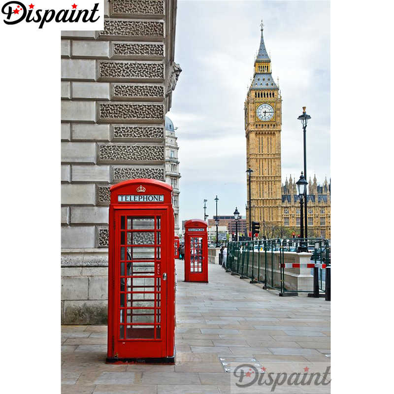 "Dispaint Full Square/Round Drill 5D DIY Diamond Painting ""London telephone booth"" Embroidery Cross Stitch Home Decor Gift A11997"