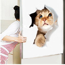 3D View Vivid Cats Wall Stickers For Toilet Bathroom Living Room Kitchen Decoration Animals Home Decor PVC Mural Art Poster