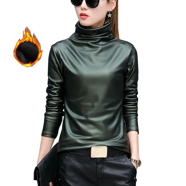 European punk plus size women blouse autumn turtleneck long sleeve tops shirt ladies velvet stretch camisas PU leather blouses 1