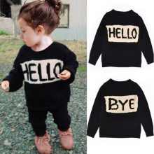 Милый детский свитер; свитер с круглым вырезом и надписью «Hello» для мальчиков и девочек; детский вязаный кардиган с длинными рукавами; свитер; Детские повседневные топы; пуловер