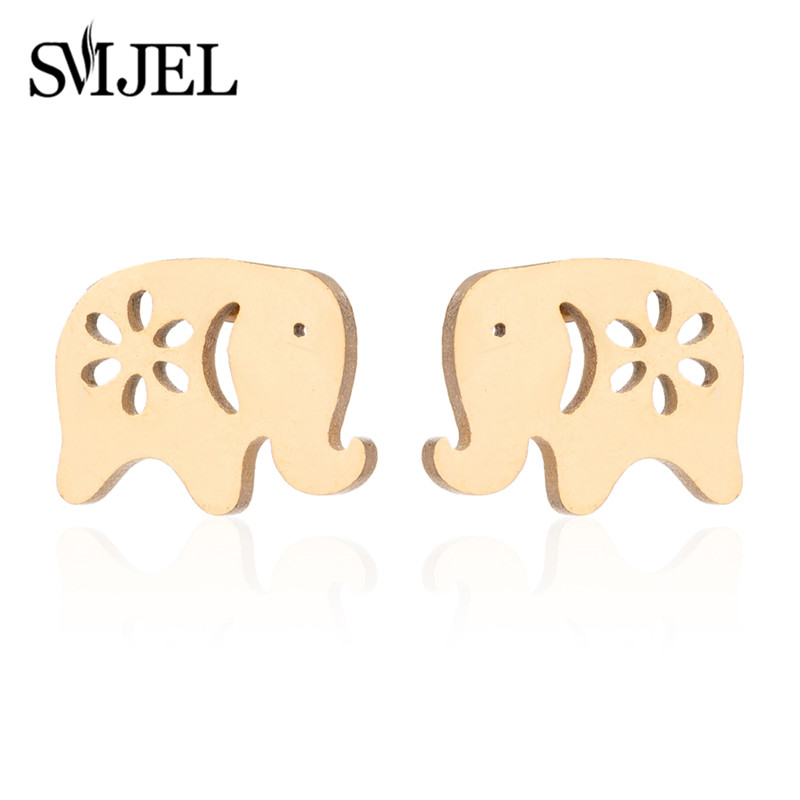 SMJEL New Geometry Animal Elephant Pendant Necklace Moon Star Stud Earrings for Women Luck Thailand Jewelry