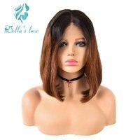 Синтетические волосы на кружеве Бразильский прямые волосы 13*4 Ombre парики человеческих волос парики короткие боб парики 150% плотность Волосы
