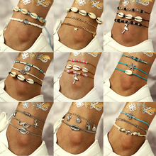 Multi-layer Chain Ankles Set Charms Ankle Bracelet Summer Beach Shell Foot chain for Women Jewelry Leg Female Ankle Boho Gift