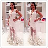 MANSA 2015 Hot Sexy White Lace Prom Dress Long V Neck Appliques Party Dress Prom Gowns Long Meramid Prom Dresses Custom Made