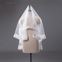 1.5M In Stock High Quality Ivory white short wedding veils Lace Edge wedding accessories bridal veil veu de noiva voile mariage