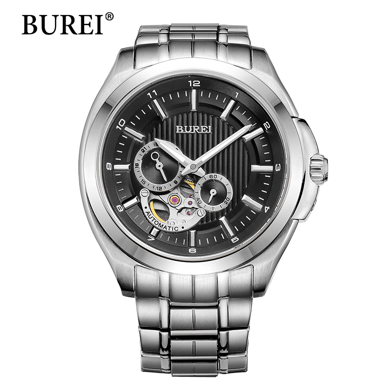BUREI Men Mechanical Watches Top Luxury Brand Male Gold Clock Large Face Sapphire Waterproof Automatic Watch Steel Band Hot Sale