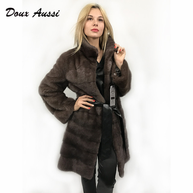 Aliexpress.com : Buy DOUX AUSSI Natural Long Mink Fur Coat Luxury ...