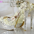 Spring New Rhinestone Ultra High Heel Pearl Shoes Luxurious Handmade Platform Crystal Wedding Shoes Bride Fashion Pumps Ivory