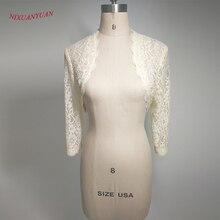 Элегантный новая цельная куртка для женщин/девочек 3/4 Длинные рукава белые кружевные плечи укороченный жакет-болеро, приталенный смокинг, брендовый модный белый свадебный свадебные накидки одежда для бальных танцев
