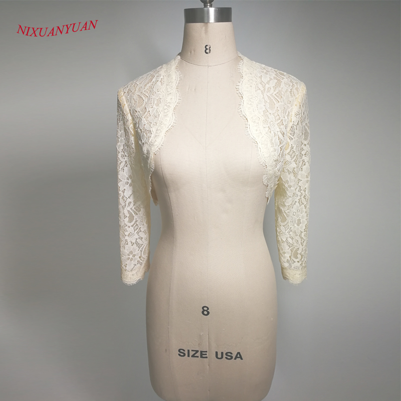Elegant 2018 New Shares Of Women / Girls 3/4 Long Sleeve White Lace Shoulders Cropped Bolero Jacket Wedding White Wedding Wraps