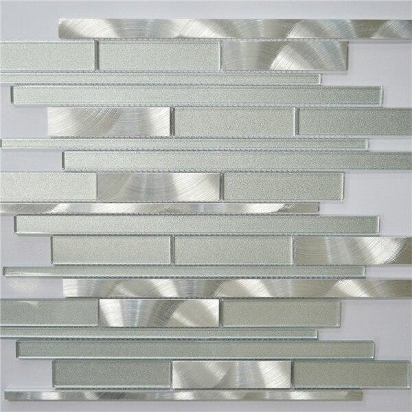 Bianco e argento incastro mosaico in vetro metallo piastrelle cucina ...