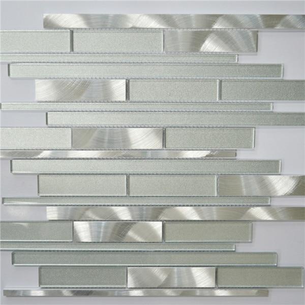White and Silver Interlocking Metal Glass Mosaic Tile