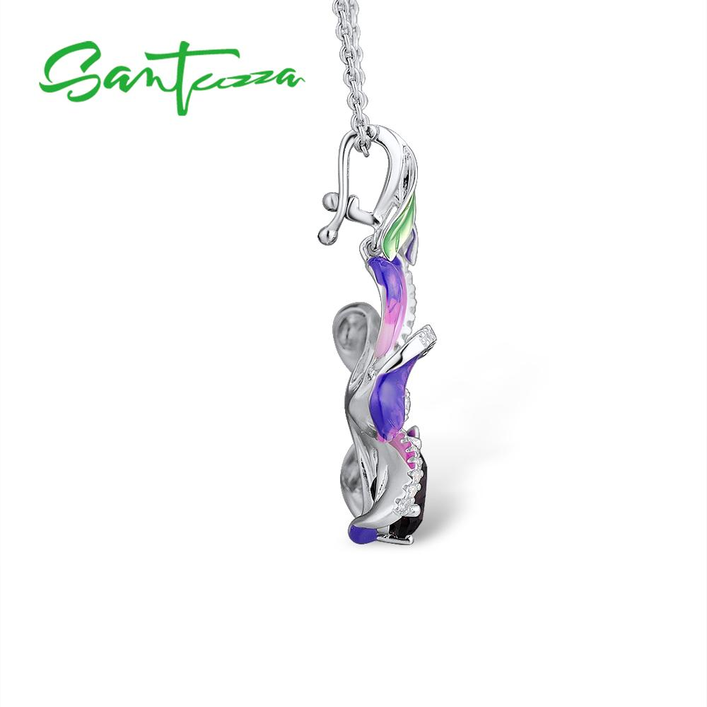 SANTUZZA Silver Pendants For Women Purple Flower Butterfly