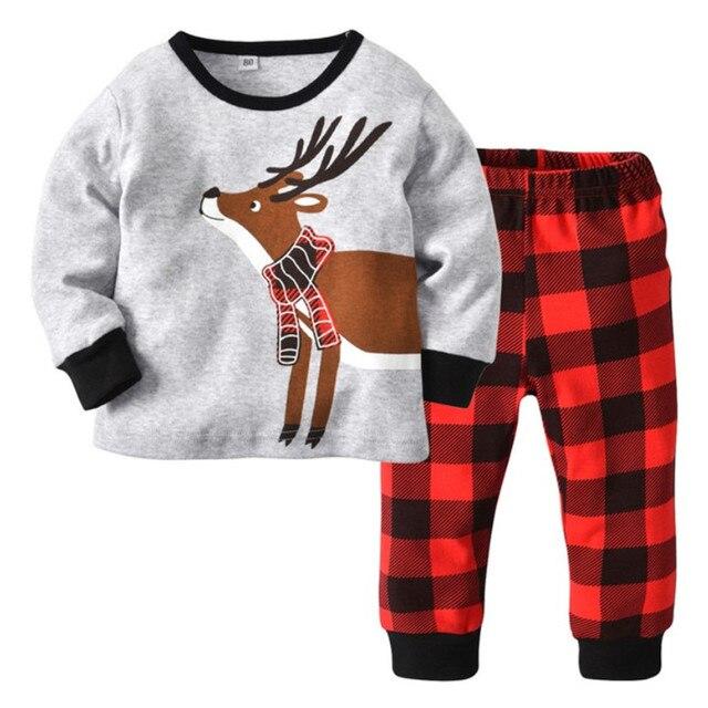Baby Boys Girls Christmas Pajamas Children Autumn Pajamas Clothing Sets  Long Sleeves +Plaid Pants 2pcs Suit Kids Sleepwear Set bdacfec10