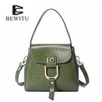 BEWITUผู้หญิงสไตล์ตะวันตกหนังวัวกระเป๋าถือกระเป๋าสะพายสบายๆสีเขียวถุงมือ