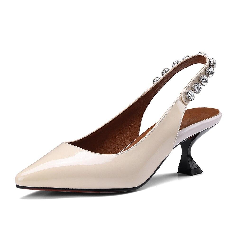 En Nouvelle Chaussures Sandales Mode Femmes white Cuir noir Pointu Pompes 2018 Haute Creamy Bout CBoWrxde