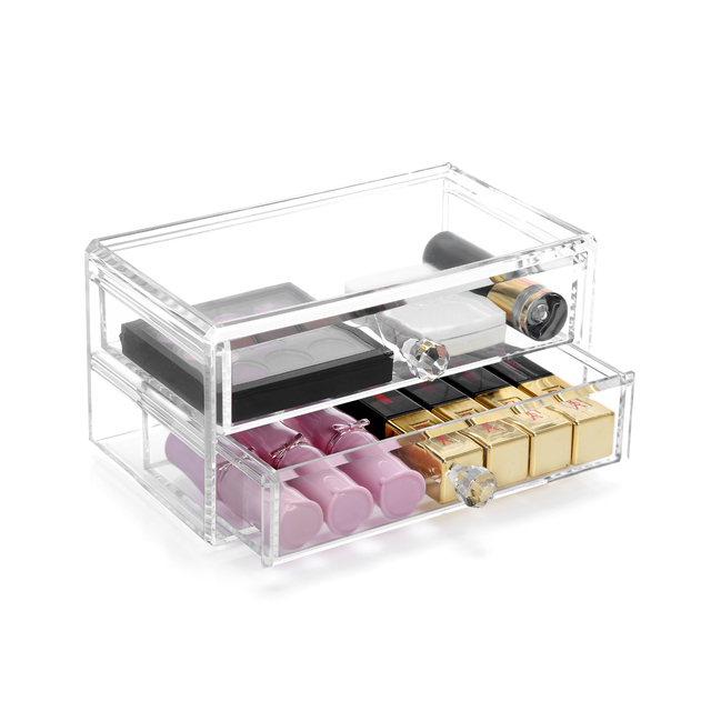 Home Storage Container 2 Drawers Acrylic Makeup Organizer Lipstick Nail  Polish Clear Plastic Cosmetic Jewelry Storage