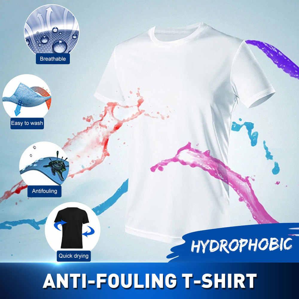 Anti-Schmutzig Wasserdicht Männer T Shirt Kreative Hydrophoben Schmutzabweisenden Atmungsaktive Antifouling Quick Dry Top Kurzarm T Hemd Männer