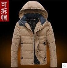 2016 хлопка рукав куртка с капюшоном мужской съемная крышка пальто