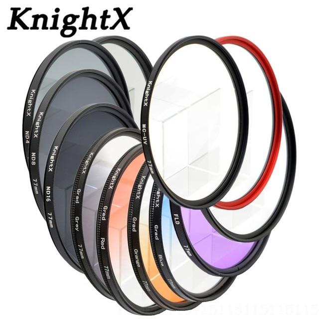 Knightx nd fld uv mc filtro colorido, lente estrela 52mm 58 67 55 77 mm para nikon canon eos 7d 5d 6d 50d 60d 600d d5200 d3300 d3200 t5i