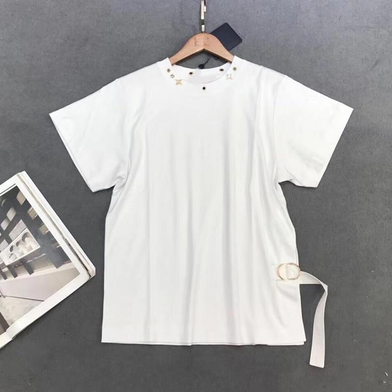 2019 new women s beading black white T shirt casual cotton T shirt summer female short