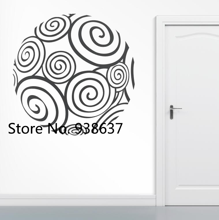 New Arrival Wall Decor Decals Rounded Spiral Vinyl Wall Stickers Creative Art Sticker Living Room Bedroom Office Decorate ZB074