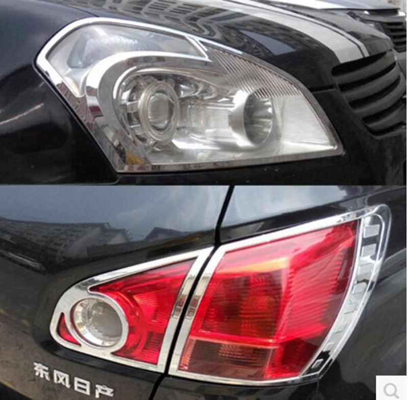 ABS Chrome Front Rear Headlight Tail Light font b Lamp b font Cover Trim Fit For