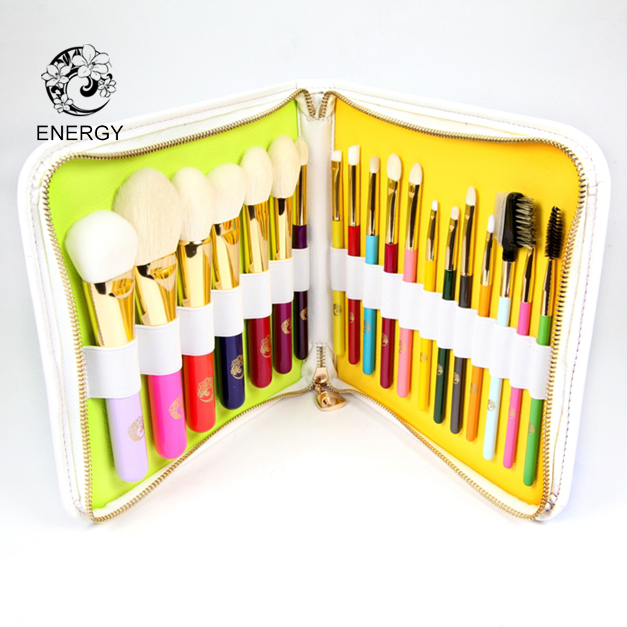 ENERGY Brand Professional 19pcs Colorful Rainbow Макияж Brush Set Макияж Қылқалам + Сөмке Брошь Макияж Pinceaux Maquillage