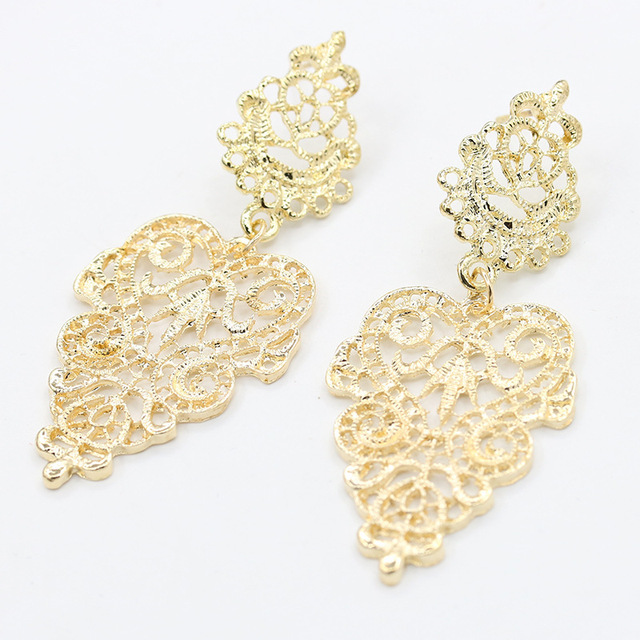 Vintage Hollow Leaves Drop Earrings 4