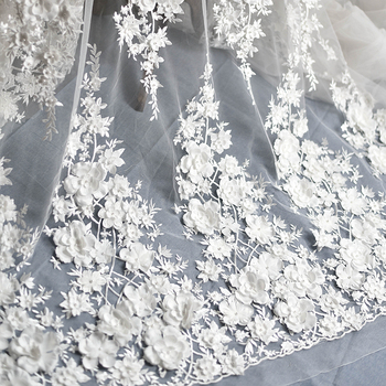 Ivory White Wedding Dress Lace Fabric, 3D Chiffon Flowers Nail satin ...