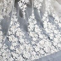 Ivory White Wedding Dress Lace Fabric 3D Chiffon Flowers Nail Satin Bead High End European