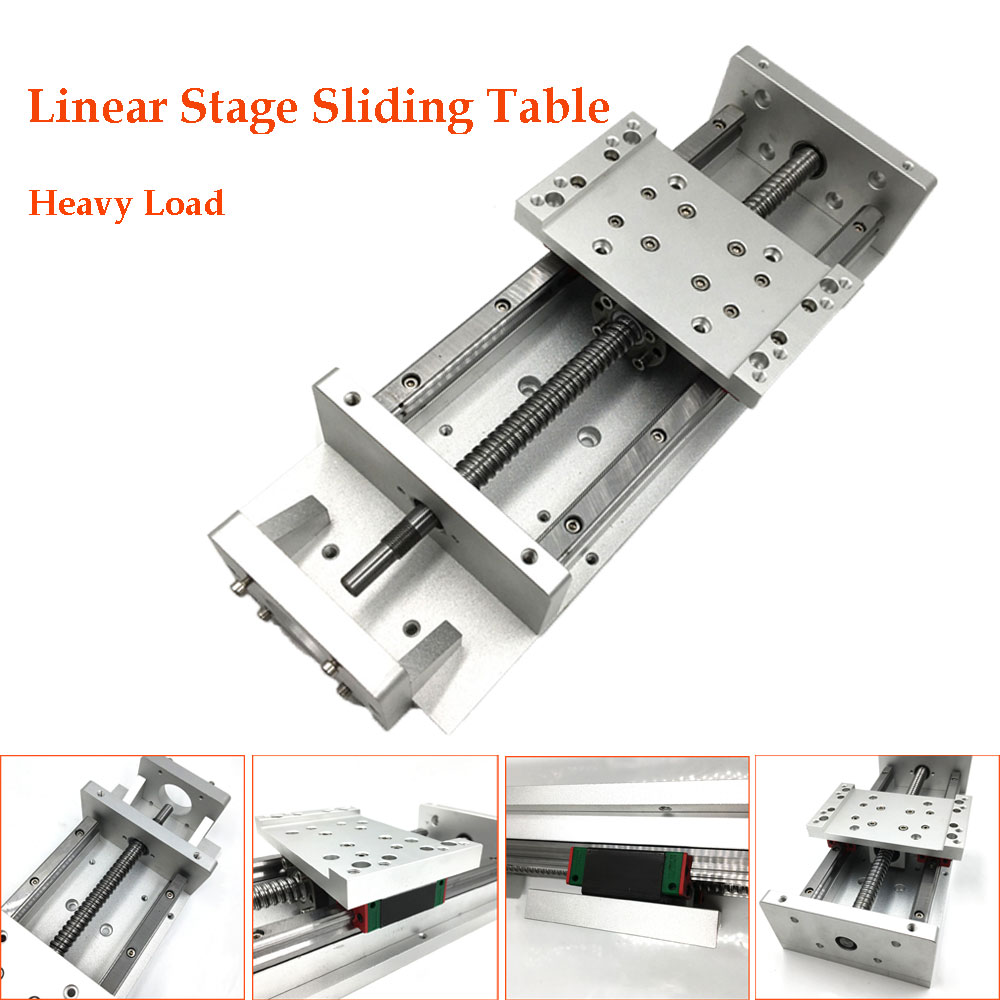 Heavy Load X Y Z Axis Sliding Table Cross Slide SFU1605 Ballscrew Linear Stage Motion Actuator CNC DIY Milling Drilling belt driven guided linear actuator any travel length linear motion motorized linear stage heavy duty belt driven stage
