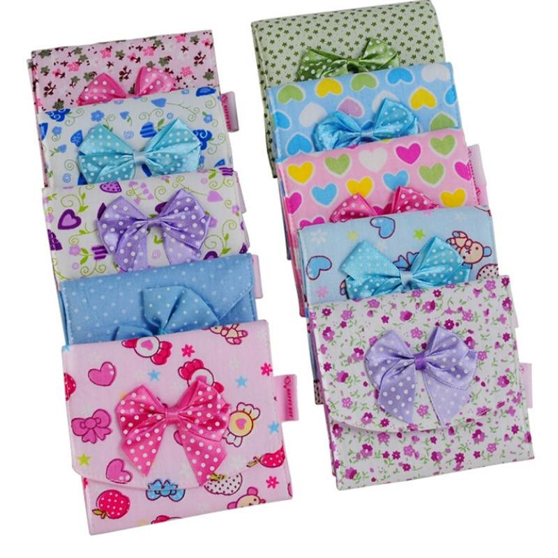 1PCS Women Cotton Sanitary Towel Napkin Pad Purse Holder Cloth Menstrual Pads Menstrual Bowknot Cute Easy Bag Organizer