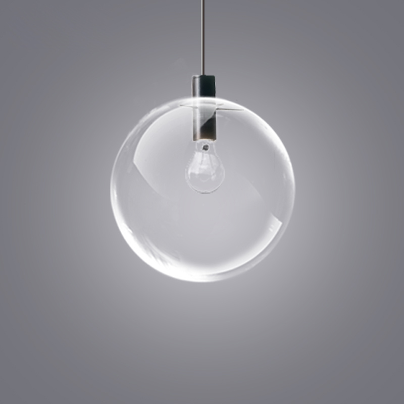 Fashion Glass Ball pendant Light Luxury Hanging Lamp Restaurant Bar Single Minimalist Pendant Clear