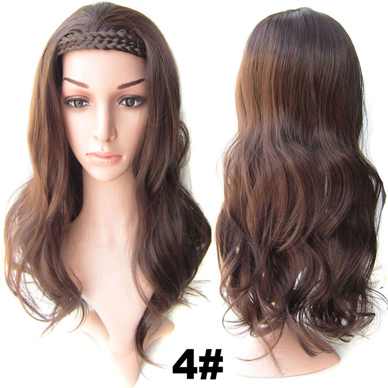#4 Chocolate Brown Synthetic Hair Natural Wigs Medium 22inch 55cm 210g Wig Fall Wavy Heat Resistant Fiber 16Colours Available