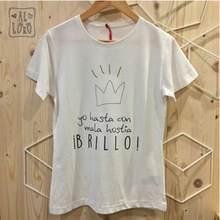 Camiseta de manga curta de moda de moda feminina de slithice design pessoal branco o pescoço letra espanhola impressão casual feminino