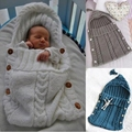 Newborn blanket Sleeping Bag Baby Knit Crochet Newborn Footmuff saco de dormir bebe Winter Hooded infants envelopes for newborns